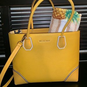 Mustard yellow pebbled leather purse -Michael Kors